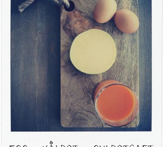 Økologiske kokte egg, kålrot og økologisk gulrotsaft