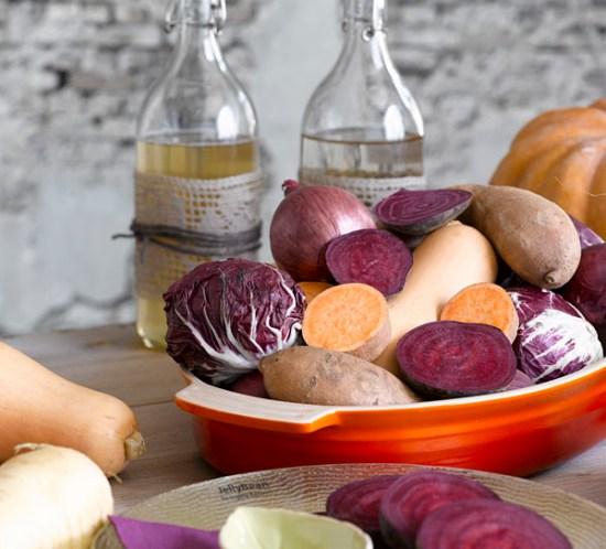 Ingeniørfruens høstbord med grønnsaker som dekor