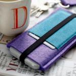 Mønster på nøkkelringer, iPad-cover og iPhone-etui av filt