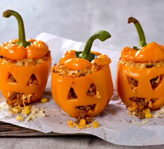 Fylt paprika til halloween