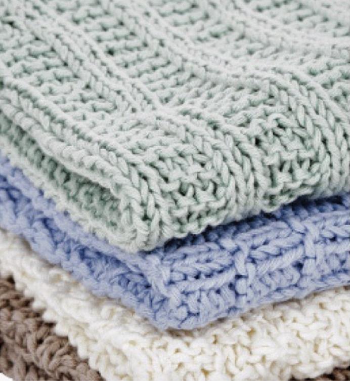 Oppskrift på strikkede kluter i bomullsgarn