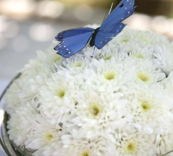 MAIBORD med kake av blomster