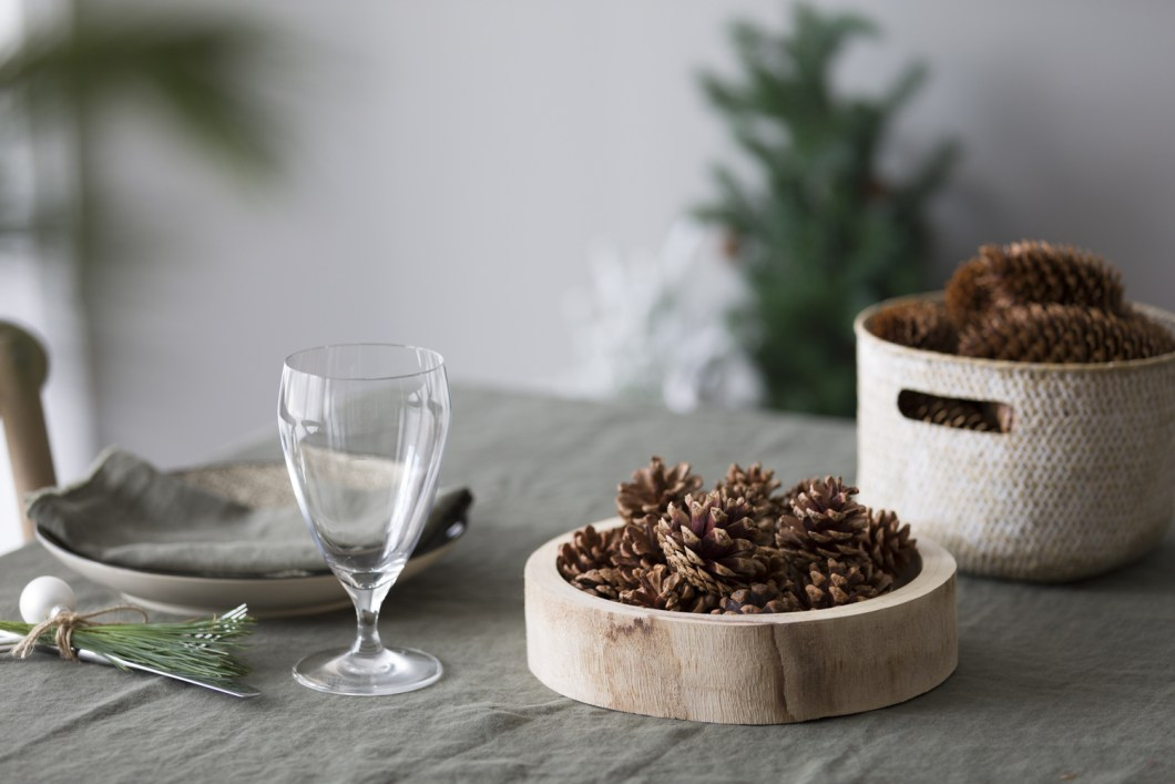 Pine cones on a tray or in a basket