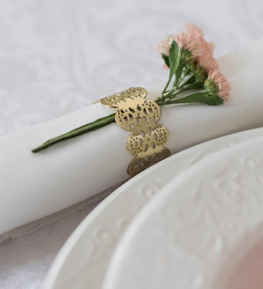 White linen napkin with flower decor