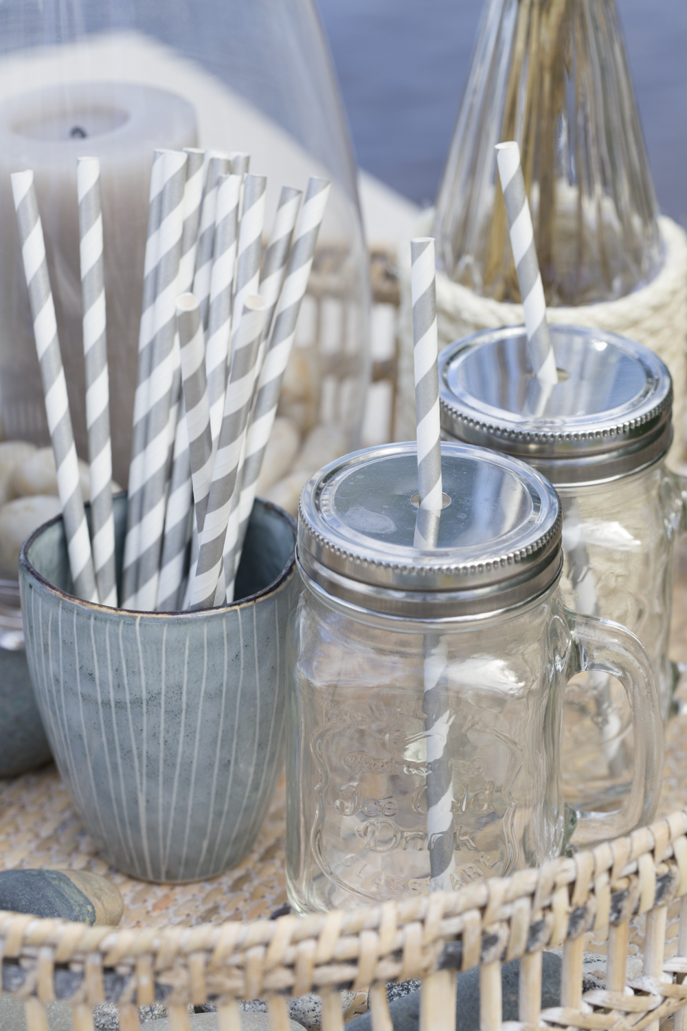 stripes, blue, white, beige summer styling beach party
