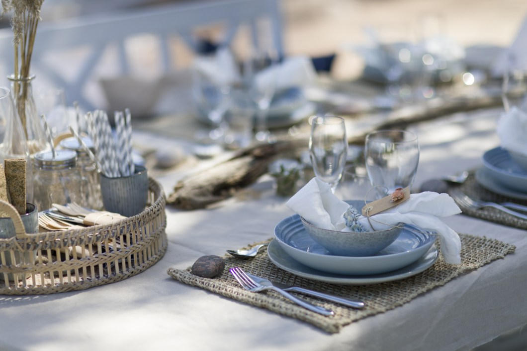 Beautiful summer table at the beach