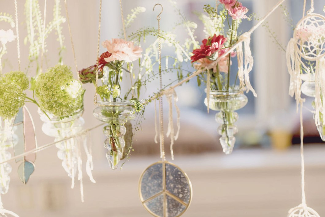 Creative flower decor above party table