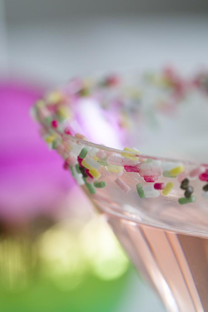 Martini glass with funfetti rimming