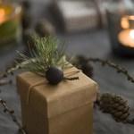 Mitt juleverksted: Julegave med skinntråd, trekule og furukvist