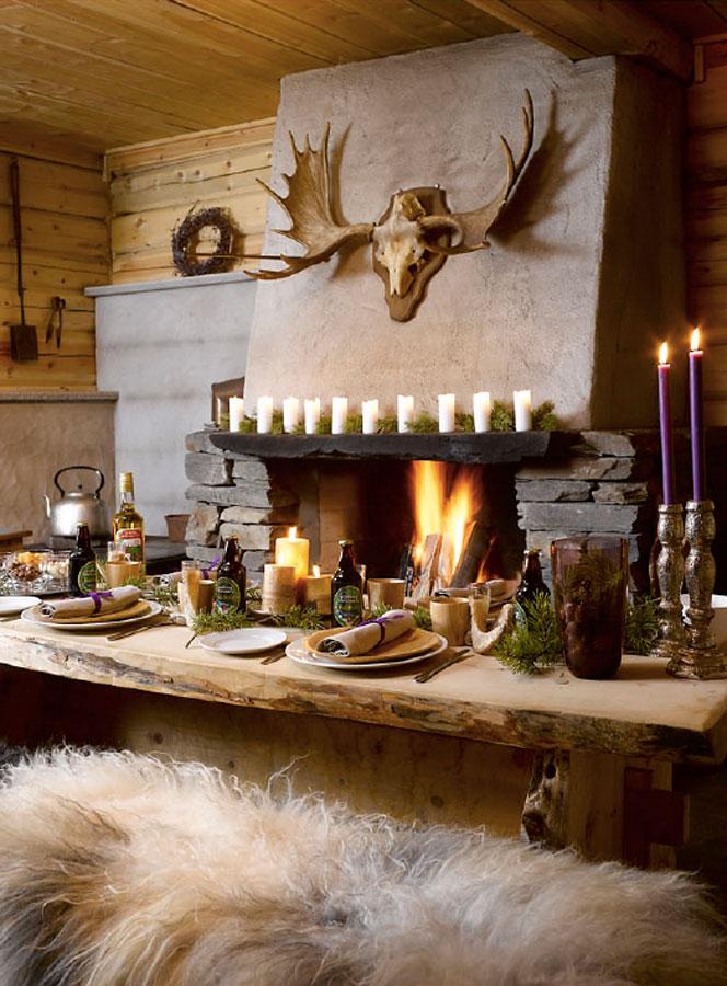 Her har jeg dekket et bord på en hytte på fjellet.