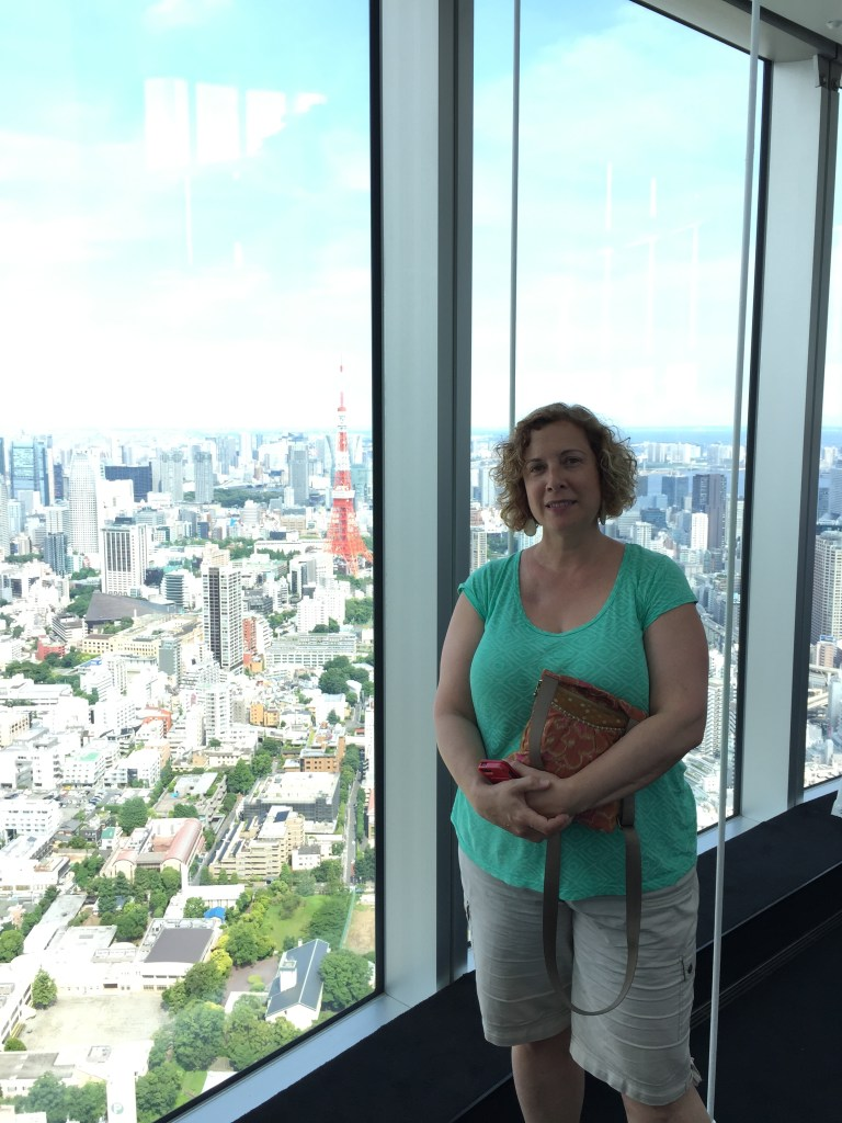 Marianne in the Mori tower with an iconic view of Tokyo.