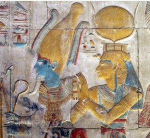 Isis and Osiris. Relief from Abydos. XIX Dynasty. Ancient Egypt.
