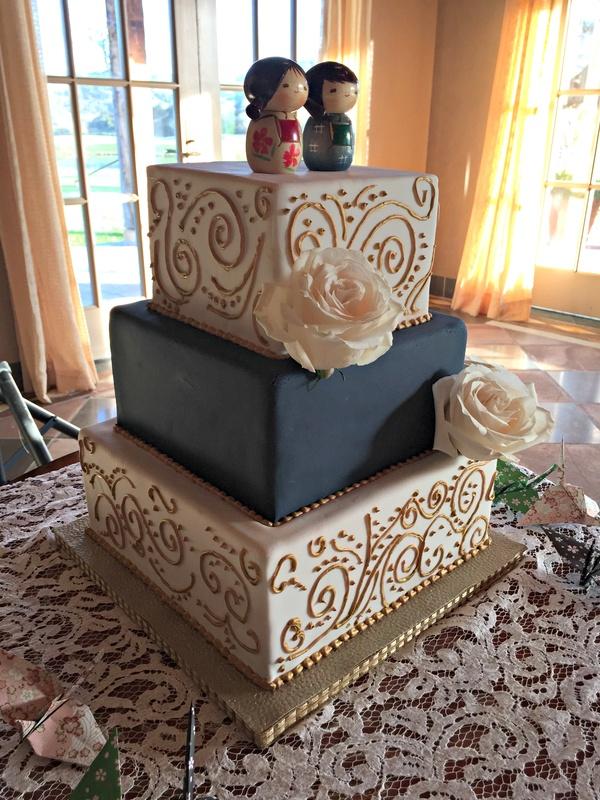 Square Navy And Gold Wedding Cake Marias Dream Cakes