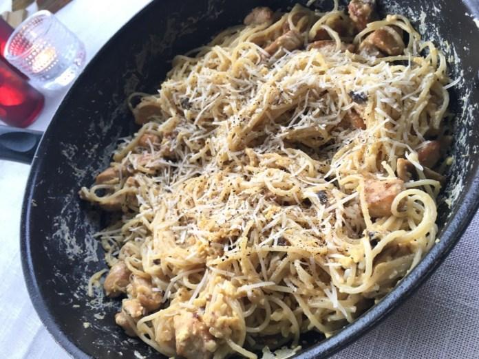 Pasta Carbonara med kyckling