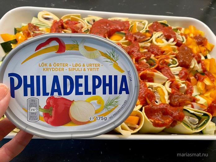 Pastarullar med zucchini och paprika
