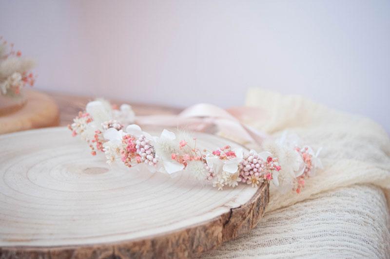 Couronne de tête en fleurs séchées Rose-Marie