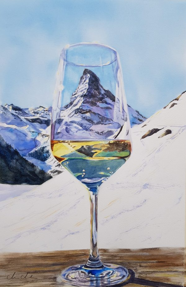 Marie Andersson Akvarell, White wine on the rocks, Matterhorn, Zermatt