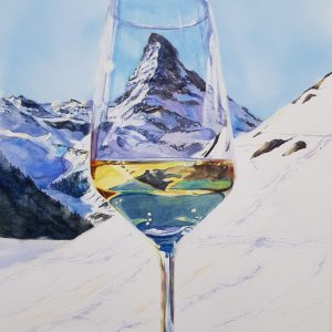 Marie Andersson Akvarell, White wine on the rocks, Matterhorn, Zermatt