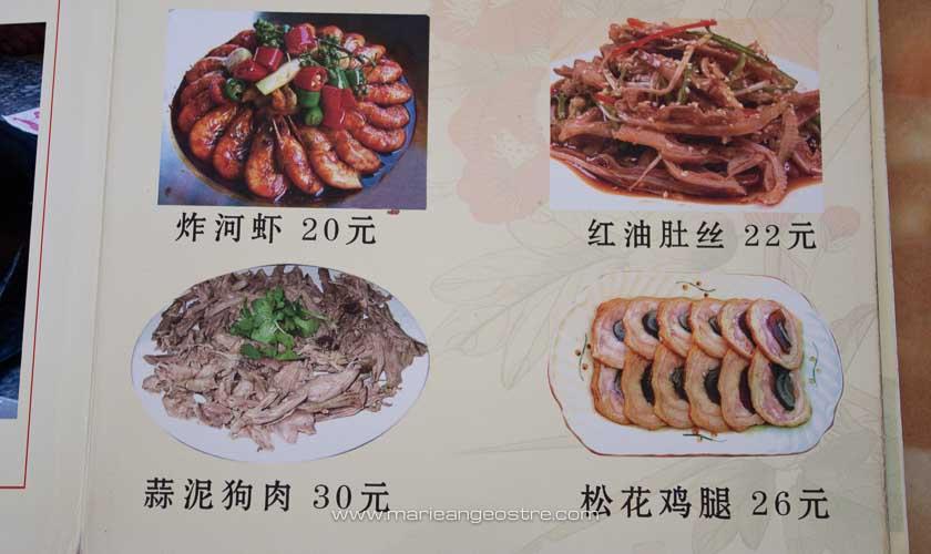 Chine, menu d'un restaurant vendant viande de chien © Marie-Ange Ostré