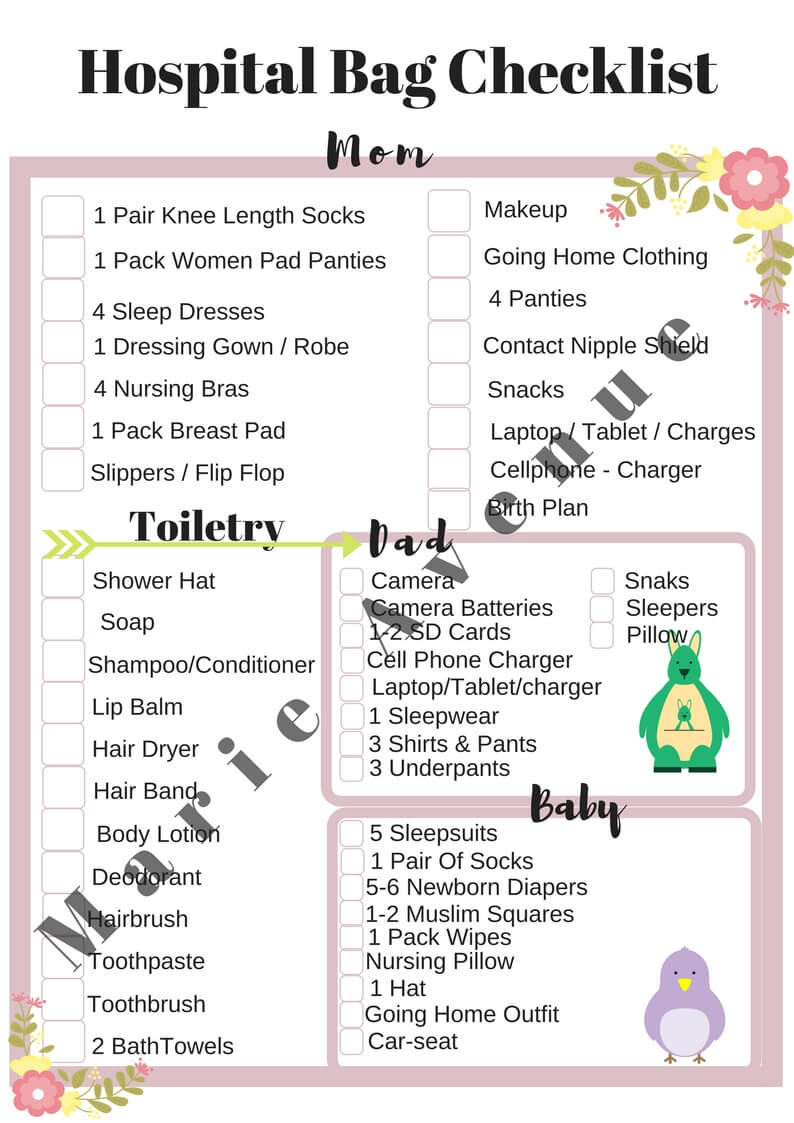 graphic regarding Printable Hospital Bag Checklist referred to as What towards Pack Within just Your Medical center Bag - No cost Medical center Bag