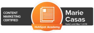 Marie Casas Content Marketing Certification Hubspot