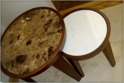 Designer Furniture : Flexform marble nest of tables at Marie Charnley Interiors