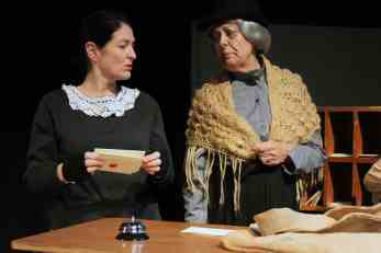 Photograph of Mrs Macey (played by Marie Cooper) and Mrs Gubbins (played by Rose Mace) Candleford at Sewell Barn Theatre