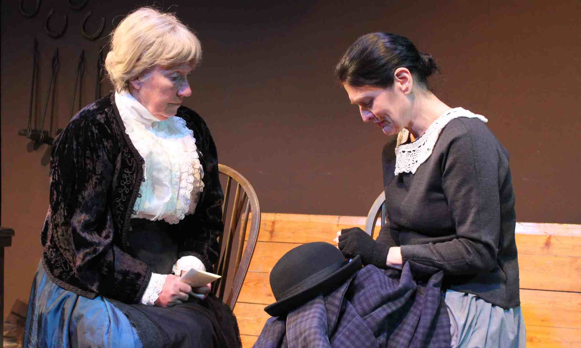 Photograph of Mrs Macey played by Marie Cooper and Dorcas Lane played by Lyn Smith in Candleford at Sewell Barn Theatre