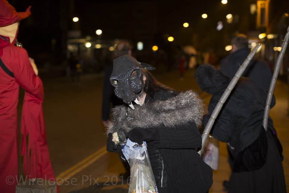 Image of Marie Cooper Actor at Norwich Spooky Parade taken by Wireloose Pix on Norwich's Halloween Spooky Parade in 2016