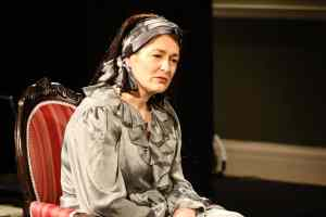 Photo of Marie Cooper actor as Anna Mary listening to Maud onstage during Come into the Garden, Maud