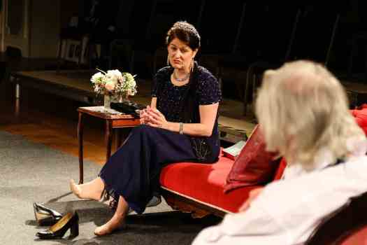 Photo of Marie Cooper Actor as Anna Mary tired and fed up of Verner onstage during Come into the Garden, Maud