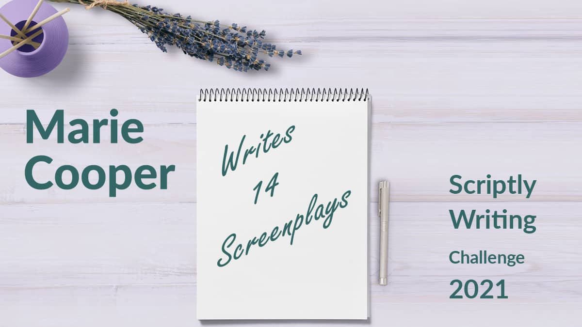 Notebook that reads Marie Cooper Writes 14 Screenplays
