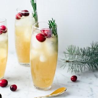 Mocktail au kombucha, pommes et canneberges