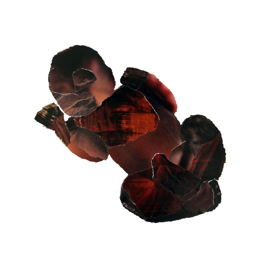 collage zwarte baby, tijdschriftsnippers op papier