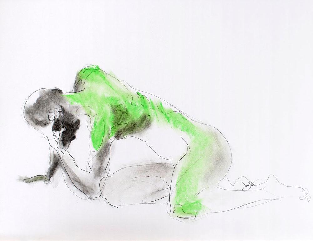 tekening man, pastelkrijt