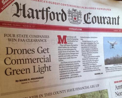 My story about drone use in Connecticut appeared in the Sunday Hartford Courant at the top of A1.