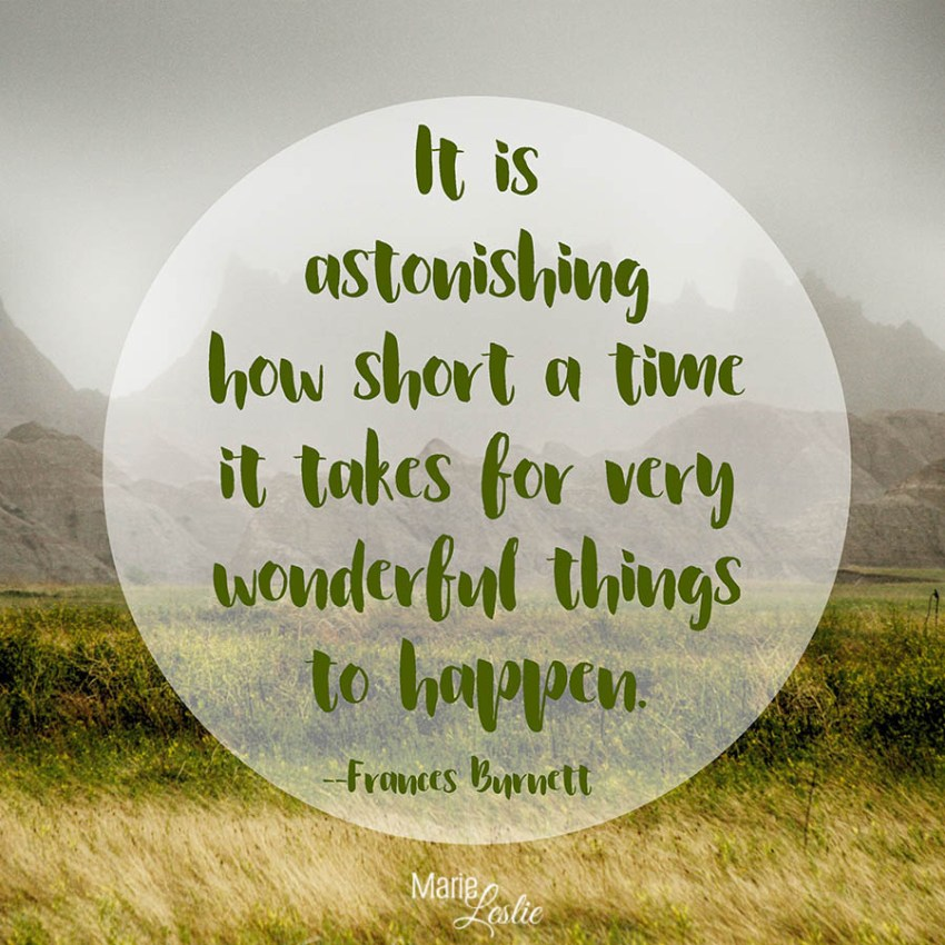 It is astonishing how short a time it takes for very wonderful things to happen. --Frances Burnett