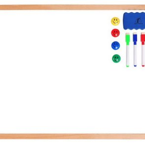 Wooden Frame Magnetic Dry Erase White Board 24 x 18, Markers & Magnets