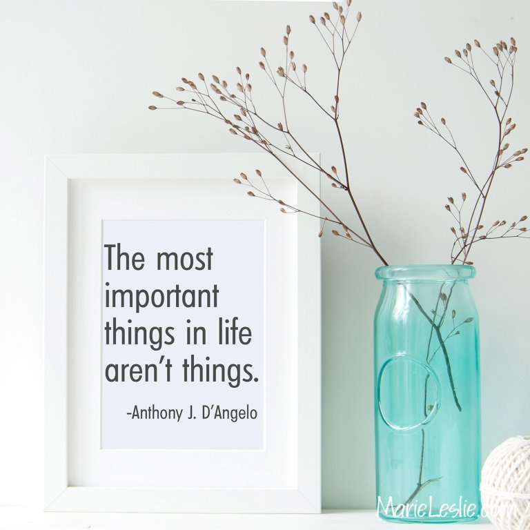 The most important things in life aren't things. --Anthony J. D'Angelo