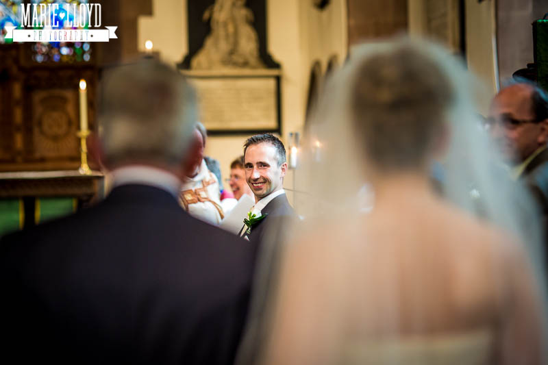 St Peters Church in Ruthin, the groom sees his bride for the first time