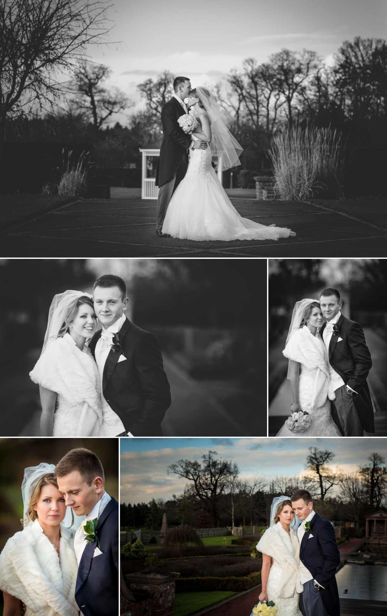 Wedding photography portraits in the gardens of Carden Park Hotel, Chester, Cheshire