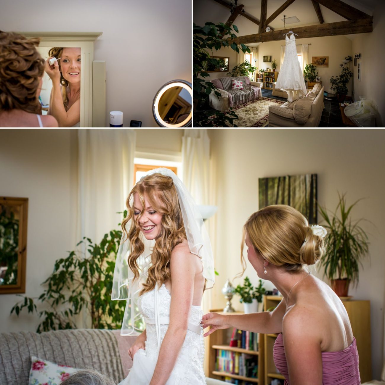 Bride getting ready at Hundred House Hotel
