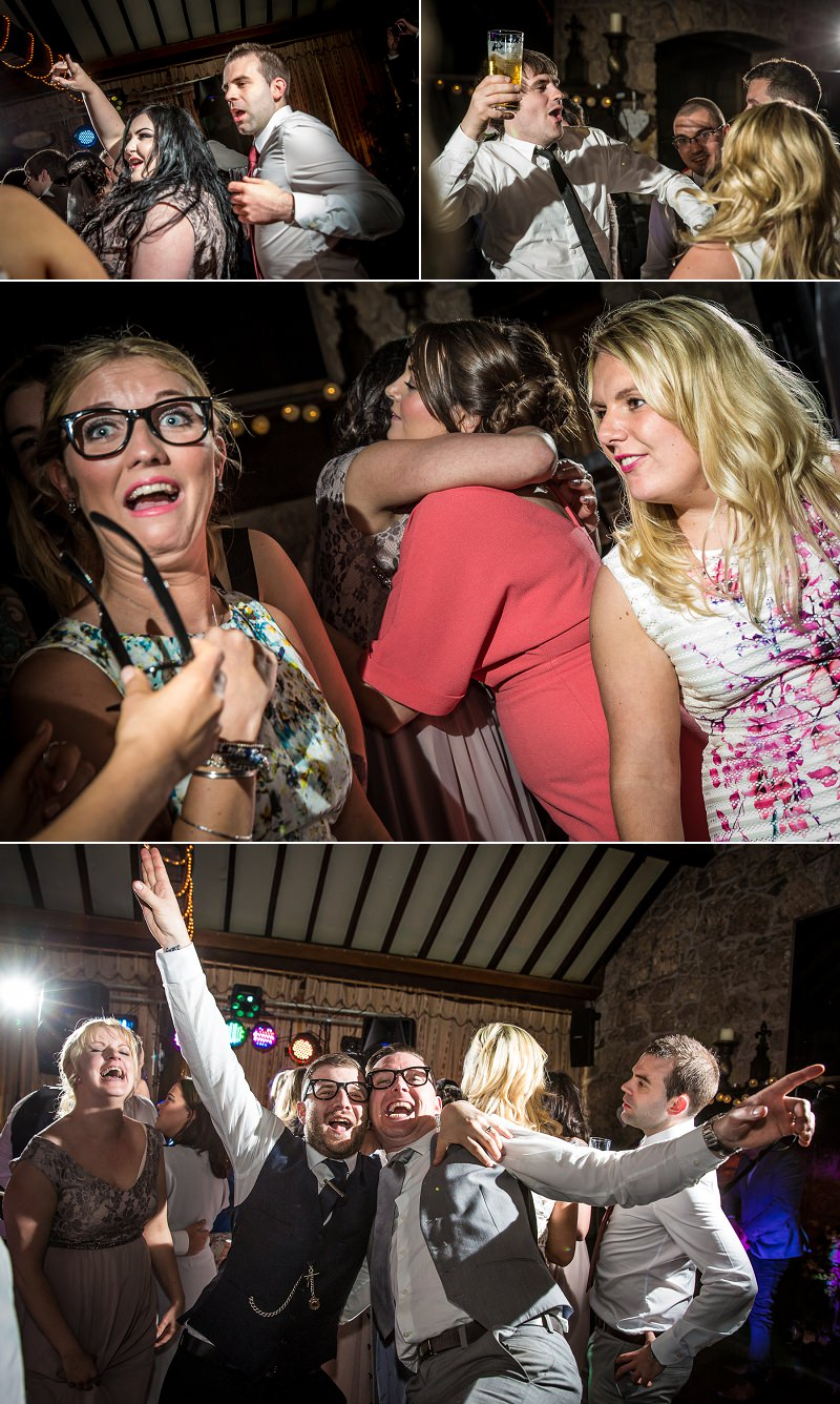 Wedding photography portraits of guests dancing in Vale country club, north wales