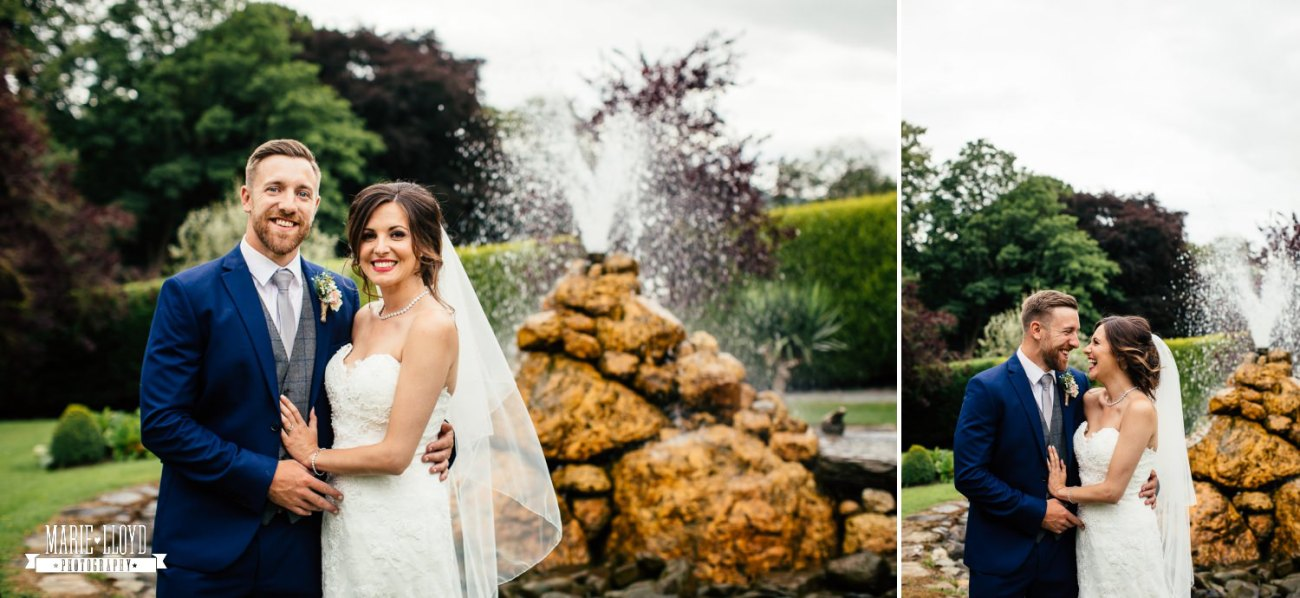 Wedding Photography couple portraits at the fountain at Plas Isaf, North Wales