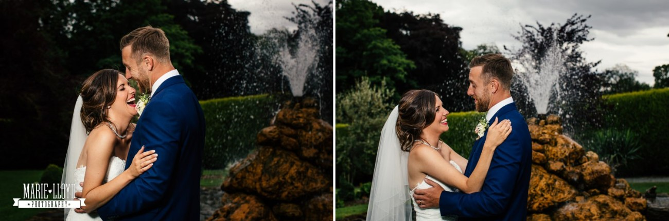 Wedding Photography couple portraits of them laughing at Plas Isaf, North Wales
