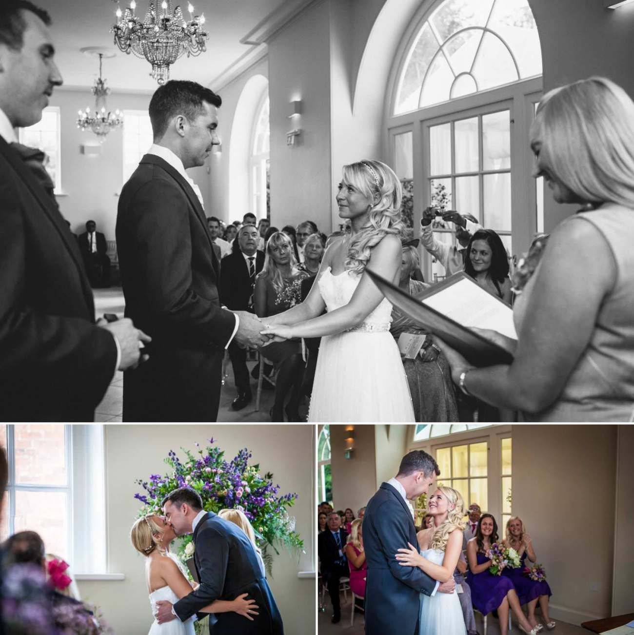 Wedding Photography of first kiss at Iscoyd Park