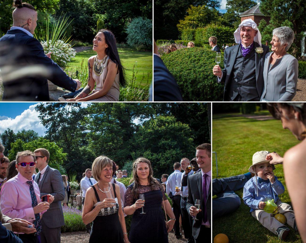Wedding Photography guests having fun at Iscoyd Park