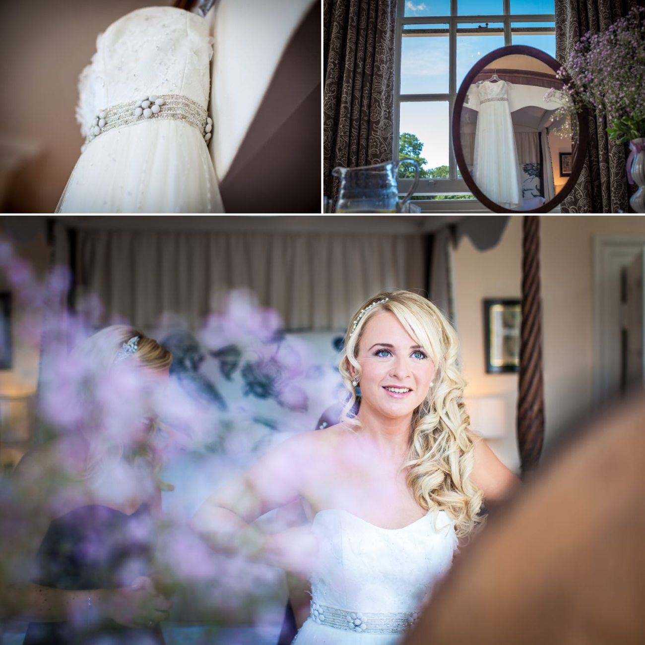 Wedding Photography of brides wedding dress and bride at Iscoyd Park