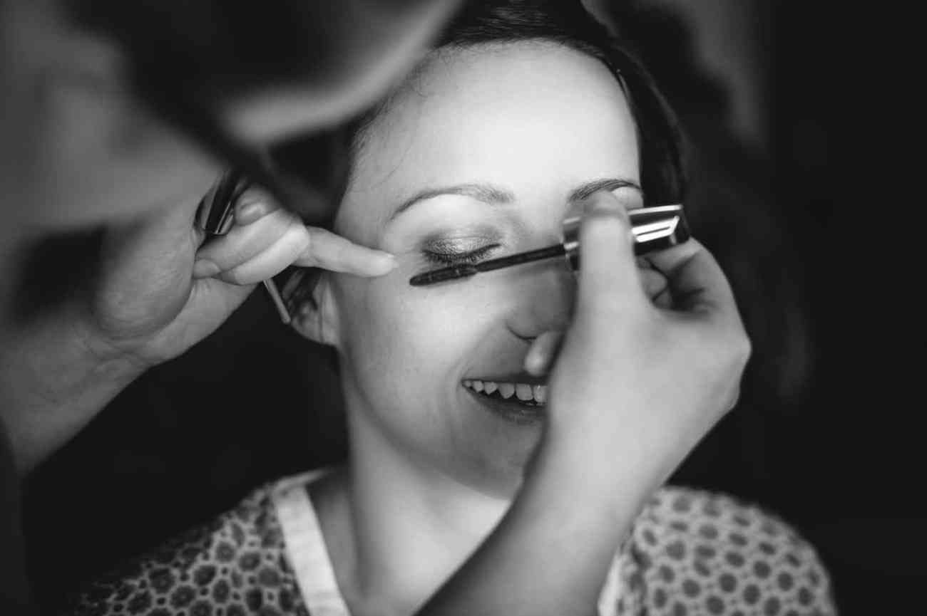 wedding photography black and white of the bride getting ready north wales