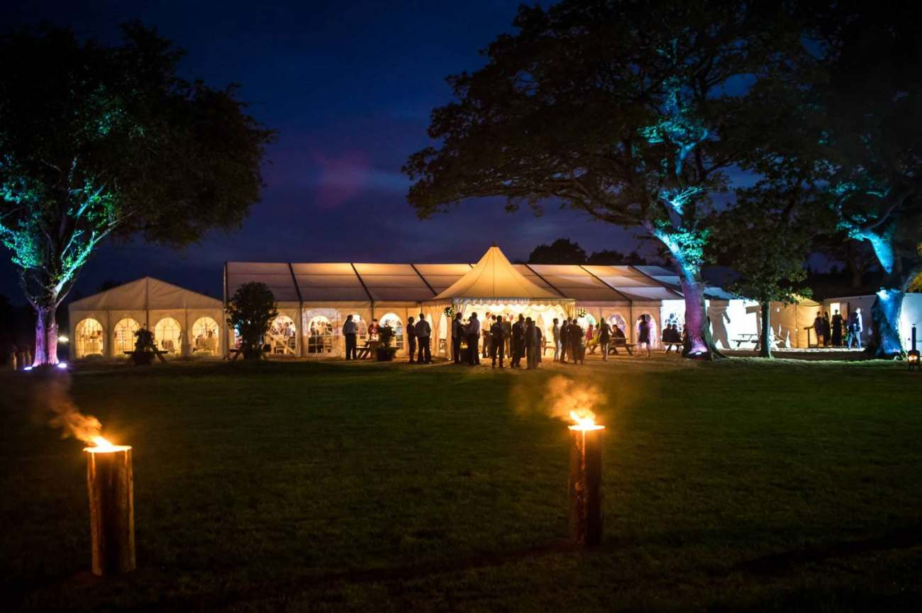 Wedding Photography marquee evening shot Wales